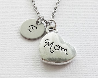 Mom Necklace Mom Heart Necklace Mothers Day Gift Best Friend Gift Birthday Gift Silver Jewelry Personalized Monogram Hand Stamped Letter