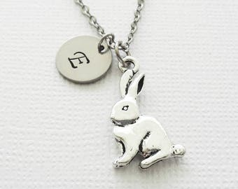 Rabbit Necklace, Easter Bunny, Gift For A Child, BFF, Best Friend Gift, Silver Jewelry, Personalized, Monogram, Hand Stamped Letter Initial