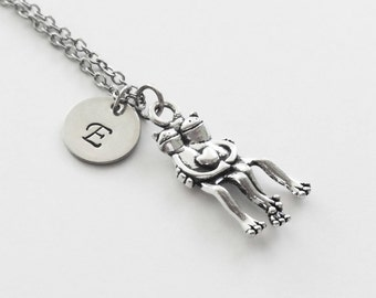 Hugging Frogs Necklace, Frogs Heart Necklace, Frog Couple, Friend Gift, Silver Jewelry, Personalized, Monogram, Hand Stamped Letter Initial