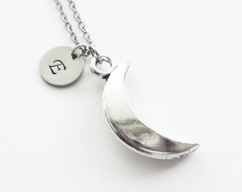 Moon Necklace, Crescent Moon, Celestial, Sky, BFF, Friend Birthday Gift, Silver Jewelry, Personalized, Monogram, Hand Stamped Letter Initial