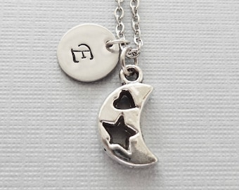 Moon Necklace, Crescent Moon, Star, Heart, Celestial, Sky, Friend Gift, Silver Jewelry, Personalized, Monogram, Hand Stamped Letter Initial