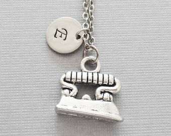 Iron Necklace, Ironing Jewelry, Clothes Iron, Housekeeping, Friend Gift, Silver Jewelry, Personalized, Monogram, Hand Stamped Letter Initial