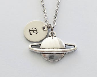 Planet Necklace, Saturn Necklace, Space, Galaxy, Friend Birthday Gift, Silver Jewelry, Personalized, Monogram, Hand Stamped Letter Initial