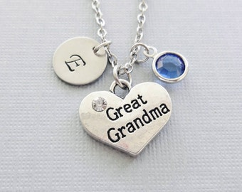 Great Grandma Necklace, Great Grandmother, Heart, Mothers Day Gift, Silver Initial, Swarovski Birthstone, Personalized,Monogram,Hand Stamped