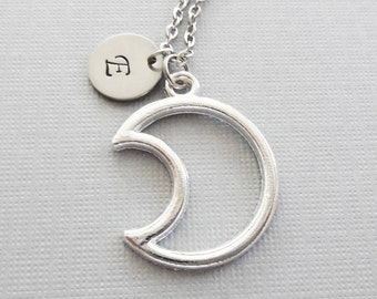 Moon Necklace, Crescent Moon, Celestial Jewelry, Moon Silhouette, Friend Gift, Silver Initial, Personalized, Monogram, Hand Stamped Letter
