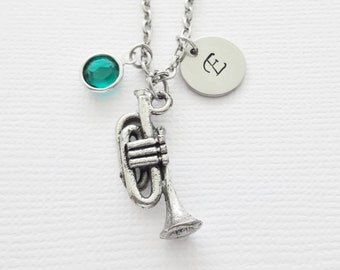 Trumpet Necklace Bugle Cornet Horn Band Orchestra Musical Music Birthstone Silver Initial Necklace Personalized Monogram Hand Stamped