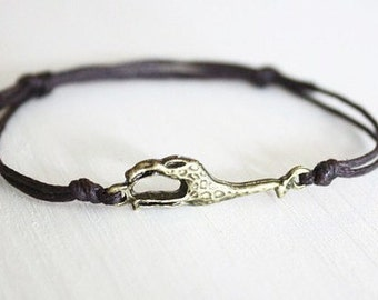 Giraffe Bracelet or Anklet, Antique Brass Bracelet, Bronze Bracelet, Animal Bracelet, Animal Lover Gift, Gift For a Child, BFF, Friend Gift