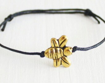 Bee Bracelet, Gold Anklet, Bee, Beaded Bracelet, Bumblebee, Woodland Animal Jewelry, BFF Gift, Beehive, Hive, Friend, Friendship Gift