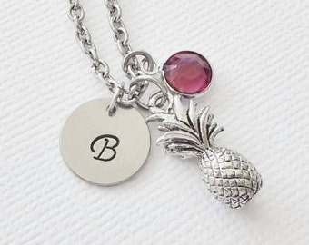 Pineapple Necklace Hawaii Tropical Fruit Food Jewelry Pewter 3D Charm Swarovski Birthstone Silver Initial Personalized Monogram Hand Stamped