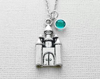 Castle Necklace, Fairytale, Princess, Cinderella, BFF, Best Friend Gift, Birthday Gift, Silver Jewelry, Swarovski Channel Crystal Birthstone