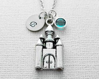 Castle Necklace, Fairytale, Princess, Cinderella,BFF, Friend Gift, Swarovski Birthstone, Silver Initial,Personalized, Monogram, Hand Stamped