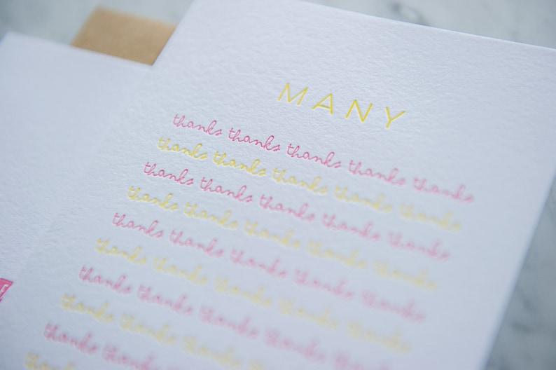 Many Many Letterpress Thank you Card Thanks!