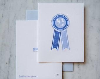 Mother's Day, #1 Mom Letterpress Card, Blue Ribbon