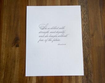 11x14 Letterpress Print - Proverbs 31:25