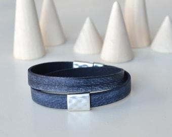 Distressed Leather Bracelet, Denim Blue Bracelet, Double Wrap Leather Bracelet