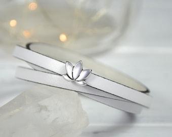 White Lotus Flower Bracelet, White Leather Wrist Strap