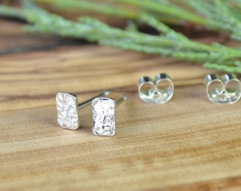 Small Stud Earrings, Sterling Silver Post Earring, Textured Everyday Earring