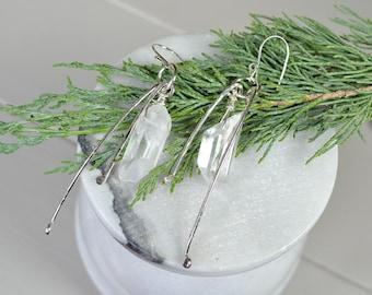 Quartz Crystal Sterling Silver Statement Earrings, Long Modern Earrings