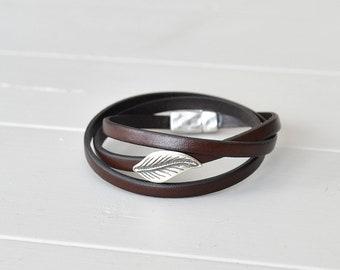 Leaf Bracelet Leather, Brown Leather Bracelet, Leaf Jewelry