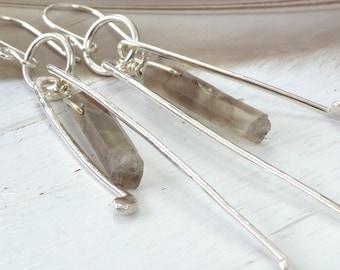 Smokey Quartz Gemstone Earrings, Raw Crystal Point Earrings, Statement Earrings