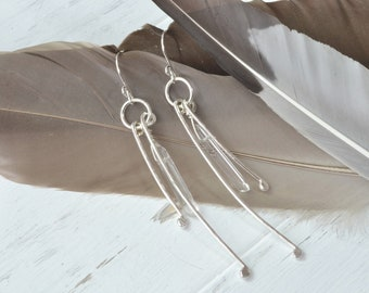 Raw Crystal Point Earrings, Statement Earrings, Quartz Point Earrings