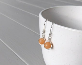 Orange Aventurine Earrings, Wire Wrapped Earrings, Tangerine Gemstone Earrings, Orange Gemstone Earrings