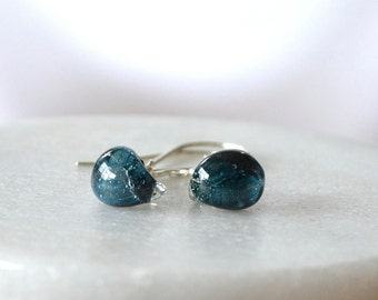 Teardrop Earrings, Ocean Blue Earrings, Glass Drop Earring, Lamp worked Glass Earring