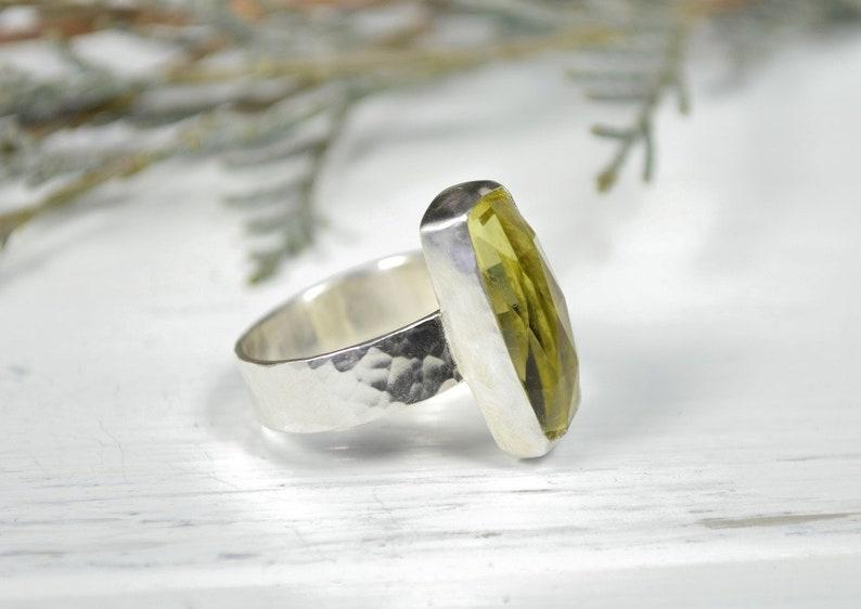 Handcrafted Ring Lemon Quartz Wide Band Ring Rectangle Gemstone Ring
