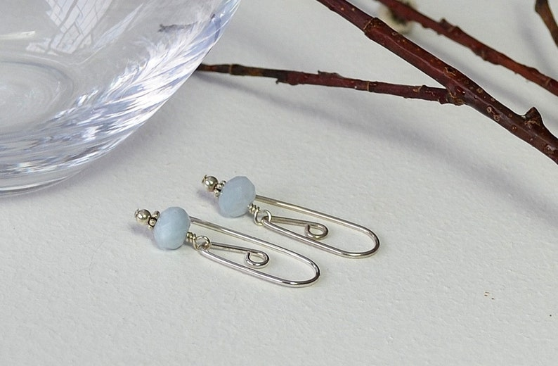 Sterling Silver Earring Artisan Earrings Aquamarine Earrings