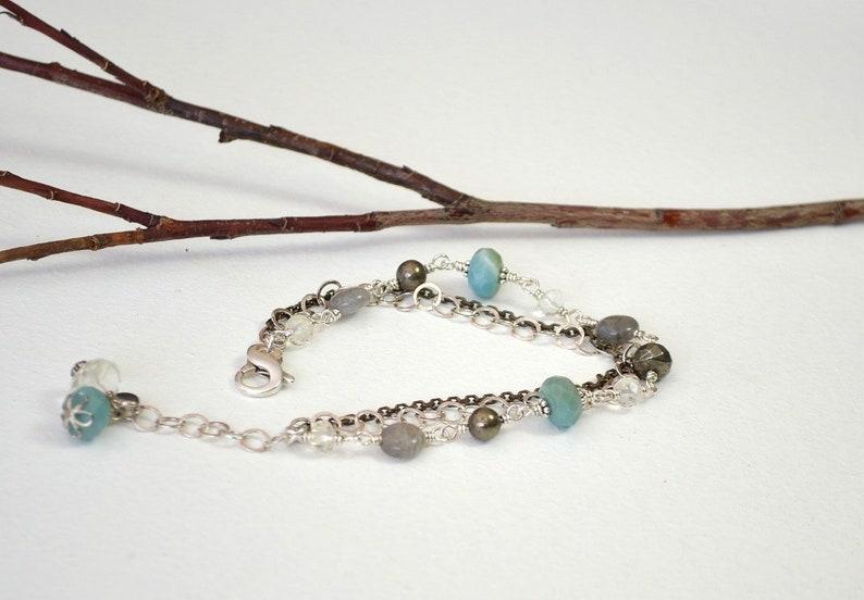 Amazonite Bracelet Multistrand Gemstone Bracelet Labradorite Bracelet