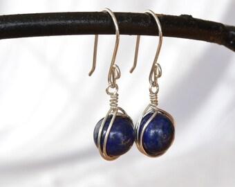 Lapis Lazuli Earrings, Navy Blue Wire Wrapped Gemstone Earrings, Lapis Jewelry