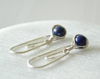 Lapis Lazuli Earrings, Threader Earrings, Navy Blue Earrings, Sleeper Earrings, Travel Earrings