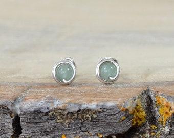 Green Aventurine Gemstone Stud Earrings, Gift for Girls