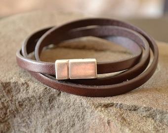 Mens Brown Leather Bracelet with Magnet Clasp, Brown Wrist Strap, Leather Bracelet for Men