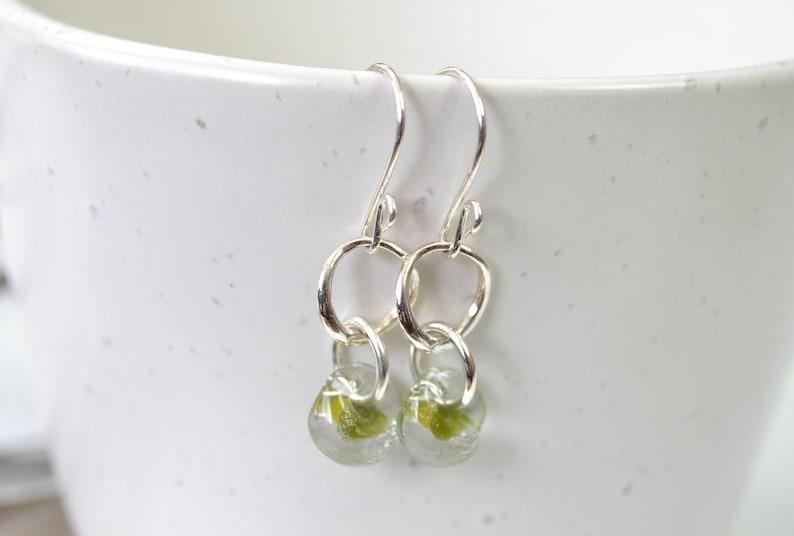 Teardrop Earrings Dangle Earring Glass Earring Olive Green Earrings