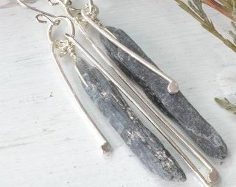 Raw Crystal Point Earrings, Blue Apatite Earrings, Statement Earrings