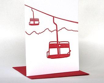 Ski Lift Love | Letterpress Ski Card