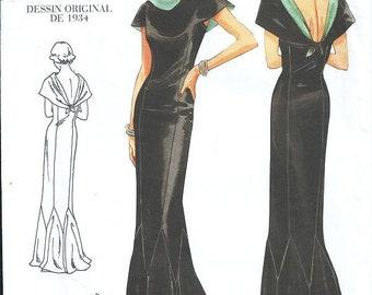 a339d8986fc64 Sz 6/8/10 - Vogue 2609 Vintage 1934 Original Design - Evening Gown -  Retired Vouge 1930's - Red Carpet LowBack Dress - Godet Hemline - USED