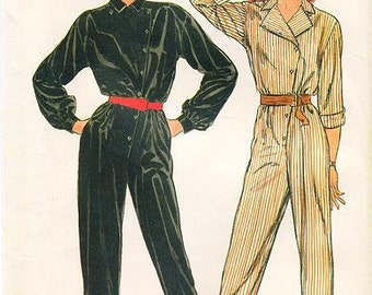 Sz 10 - Butterick 6093 - Misses' Tapered Loose-Fitting Jumpsuit, Asymmetrical Closure, Blouson Bodice, Elastic Waist, and Side Seam Pockets