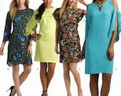 Sz 14 Thru 22 - Simplicity Pattern 8544 - Misses 39 Miss Petite Dress with Neckline, Sleeve and Fabric Variations - Simplicity Pattern