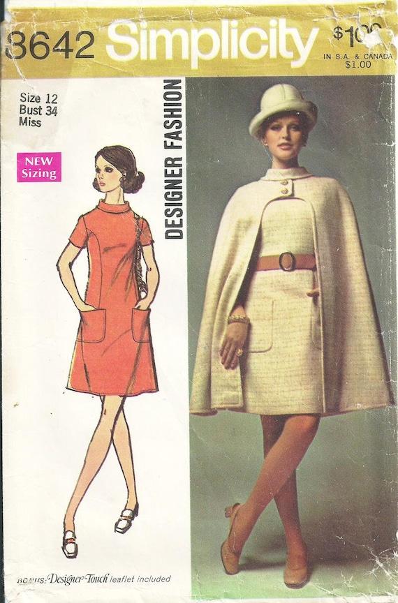 Sz 12 Vintage 1969 Simplicity 8642 Designer Fashion Etsy