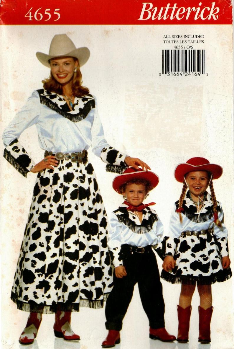 Sz Misses/'Children Western Custome - Butterick Pattern Misses/' 6 Thru 18Kids 2Thru 6X Shirt, Skirt, Cuffs Butterick 4655