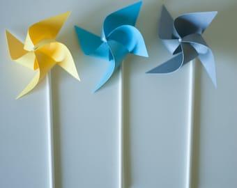 Twinkle Twinkle Little Star Baby Shower / Glitter Star / Blue Twinkle Star / Baby Shower 12 Mini Twirling Pinwheels (Custom orders welcomed)