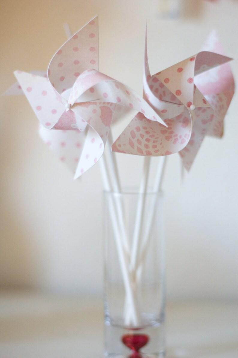 12 Mini Pinwheels Custom orders welcomed Pink Lemonade Wedding favor Birthday favor Pale Pink and White