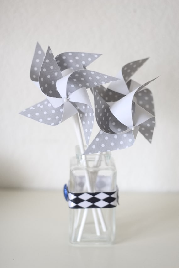 custom orders welcomed Black and White decorations Black White and Grey Wedding Wedding favor paper goods 12 Mini Pinwheels Black Tie