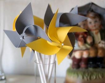 Yellow Wedding favor Birthday favor Yellow and Grey -12 Mini Pinwheels (Custom orders welcomed)