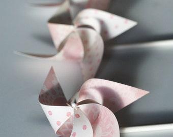Pink Lemonade Wedding favor Birthday favor Pale Pink and White -12 Mini Pinwheels (Custom orders welcomed)