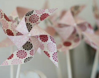 christening decorations, wedding Pink Party favors - 12 Mini Spinnable Pink Party Pinwheels - baby girl christening decorations, christening