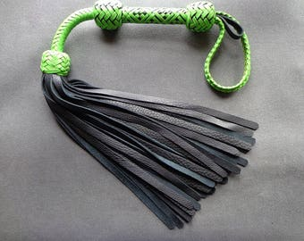 Super Thuddy Neon Green and Black Lion Tail Flogger
