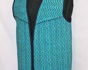 Blue wool vest teal, blue handwoven long wool vest, now ON SALE